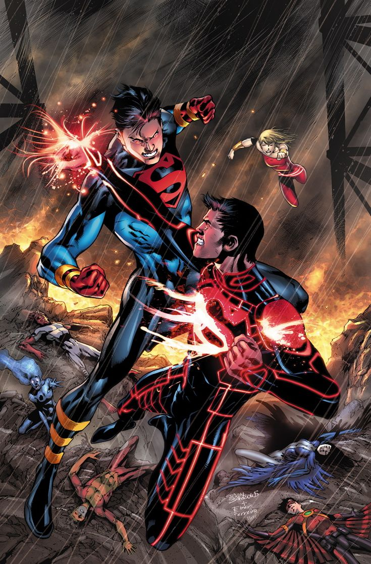 Superboy vs Superboy. I've always preferred Connor in his t-shirt and jeans outfit. And Superman...I don't even know man, did Lois not dress you this morning?