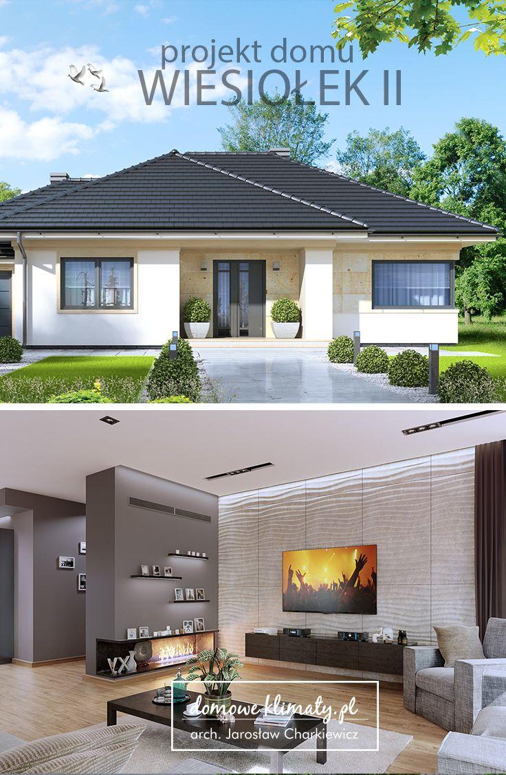 """Projekt nowoczesnego, energooszczędnego domu parterowego """"Wiesiołek II G2"""" z garażem dwustanowiskowym i dachem wielospadowym, dla rodziny czteroosobowej. Wygodne i przejrzyste wnętrze zostało doskonale oświetlone dzięki imponującej powierzchni przeszkleń, co znajduje odzwierciedlenie w świetlistym salonie. Z dużego przedsionka można dostać się zarówno do centralnej części domu, jak i do kuchni - przez otwartą z dwóch stron, sporą spiżarnię."""