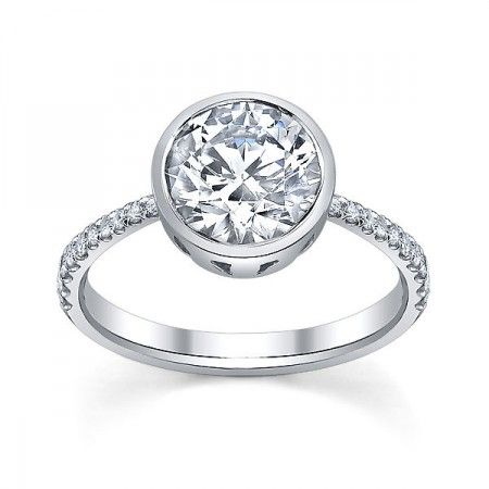bezel set engagement ring with micropavé band