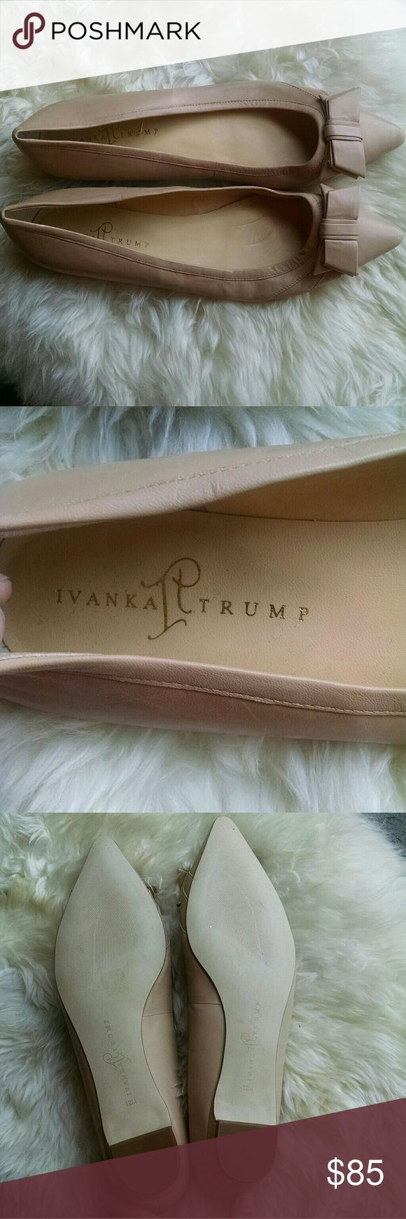 SALE! Ivanka Trump Abello Pointed Toe Flats w/ Bow These are adorable and would go with anything. Classic shoe.  Leather.   Nude. Ivanka Trump Shoes Flats & Loafers