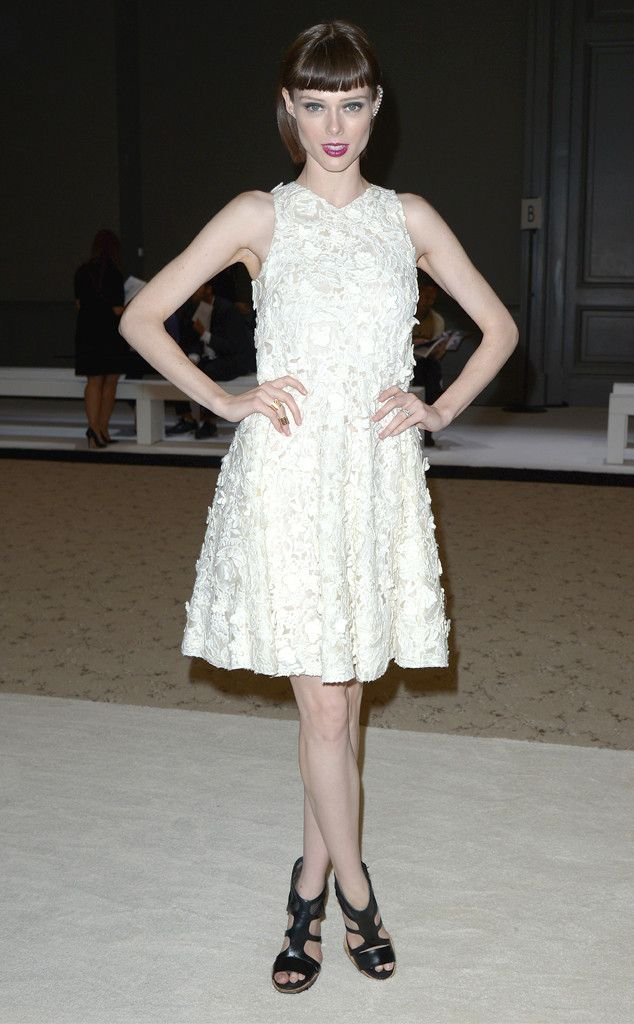 Coco Rocha sports a textured white frock at the Giambattista Valli show. (Click to see more celeb styles at Paris Fashion Week!)