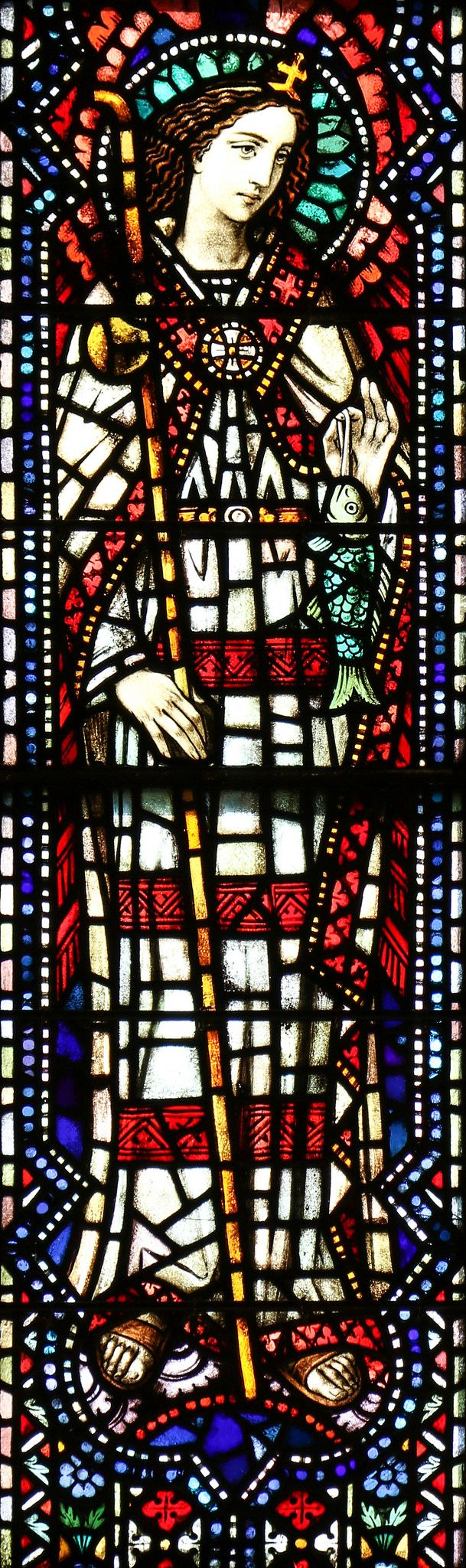 """Saint Raphael / San Rafael // """"I am the angel Raphael: I stand before the Lord. You, for your part, give thanks to the Lord, tell all his deeds.""""  // Stained glass from Blessed Sacrament Cathedral in Greensburg, PA // photo: Lawrence OP"""