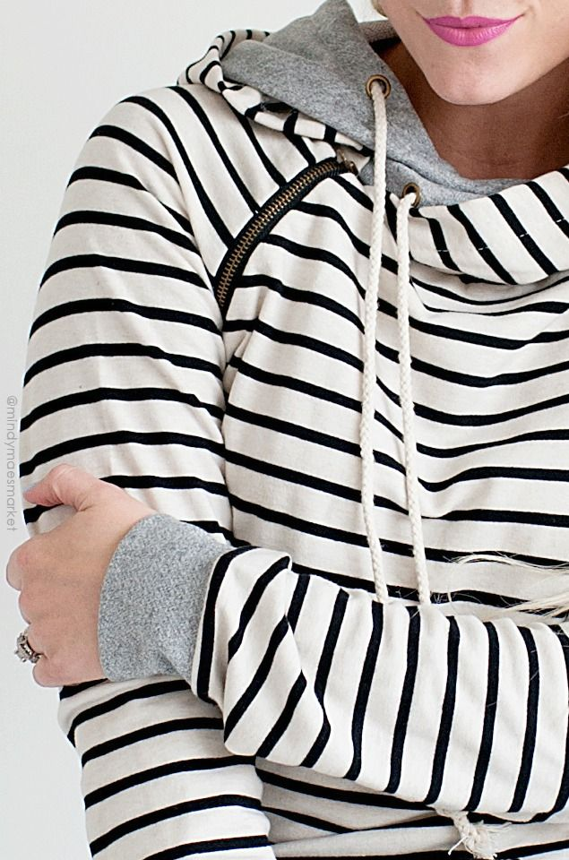 Tan Striped Double Hooded Side Zipper Hoodie by @ampersandave || Purchase at @mindymaesmarket