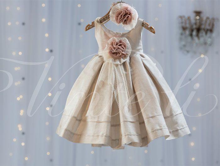 Βαπτιστικά ρούχα, φόρεμα Vinteli λινομέταξο 2514*
