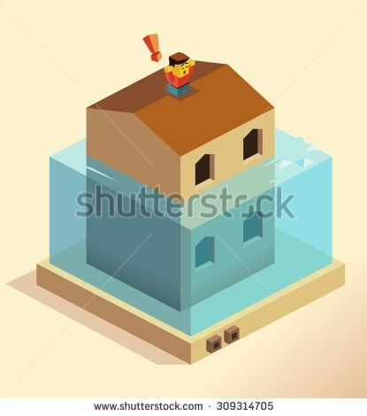 Disaster Flooding house. isometric art - stock vector