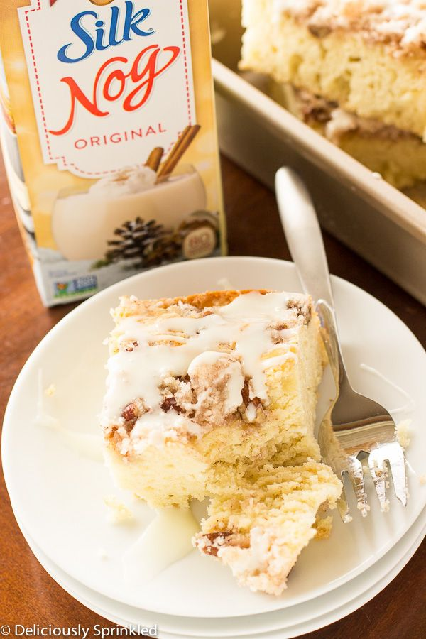 Eggnog Coffee Cake- made this with Southern Comfort egg nog, added little butter and vanilla to the glaze.  It would be great with some dried cranberries added.  The crumb topping could use a little more cinnamon or even nutmeg. But a winner at my house!