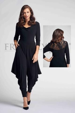 80ab656afae2 Chic one piece harem jumpsuit with pockets and lace back. Proudly Made in  Canada