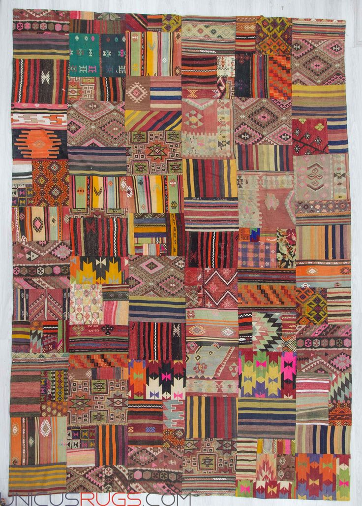"Decorative kilim patchwork made from handwoven kilim pieces and backed with good quality cotton fabric as reinforcement. In very good condition. Width: 9' 10"" - Length: 14' 0"" PATCHWORKS"