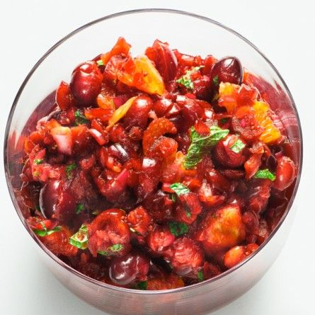 Cranberry-Orange Relish with Mint Recipe (plus red onion and fresh ginger) Bon Appetit