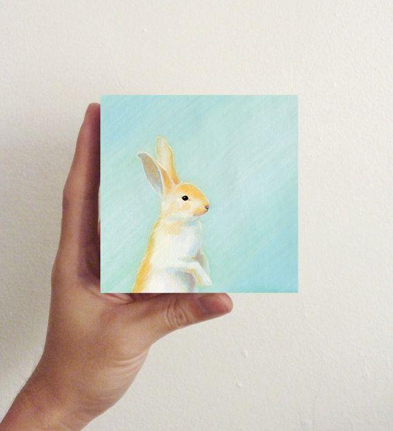 Miniature Rabbit Art Morning Dew Bunny Mini Block On Etsy 21 00