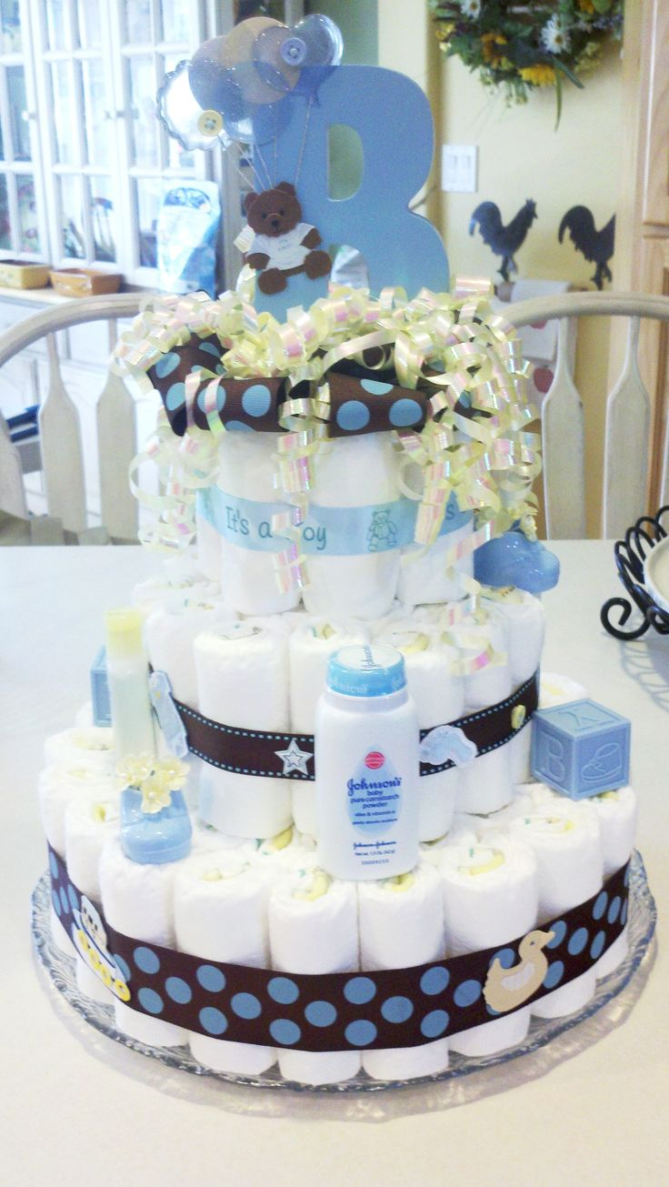 """Baby Boy Diaper Cake - it even has a """"B"""" for Best."""