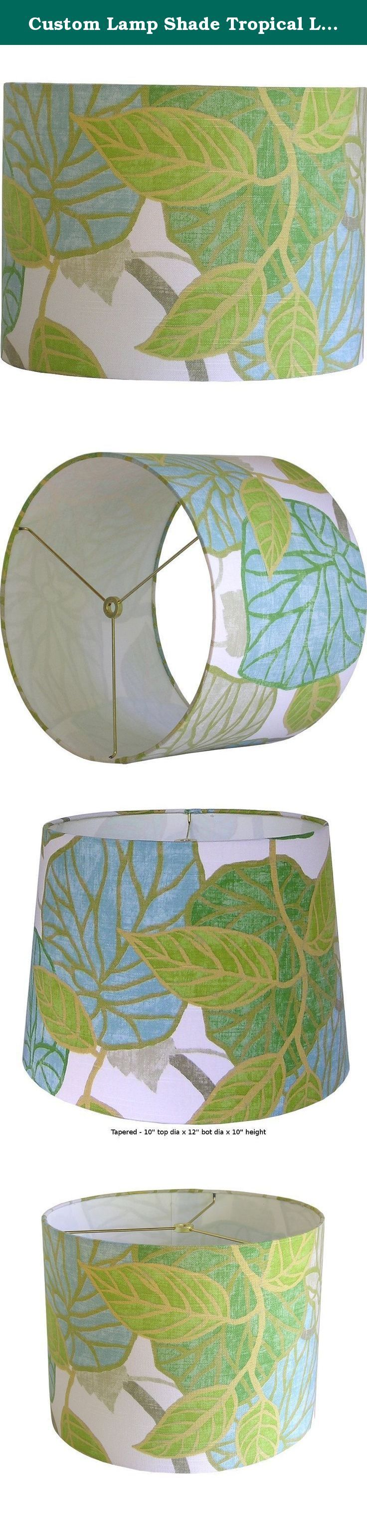 "Custom Lamp Shade Tropical Lampshade Tropic Scene Lampshades Capri Lamp Shade Table Lampshades Bedroom Lamp Shades Made to Order 9"" to 16"" Diameter. Custom lamp shade, constructed by hand from raw materials and covered with Robert Allen @ Home's Tropic Scene in Capri. SPECS: - FABRIC: Robert Allen's Tropic Scene in Capri, a cotton fabric with a leafy, tropical design. Color palette includes shades of chartreuse, green, aqua, tan and brown on a white background. - FITTING: Standard..."