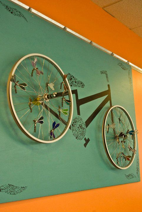 Whirring Wheels...Upcycled Bicycle Wheels With a Touch of Glass. $725.00, via Etsy.