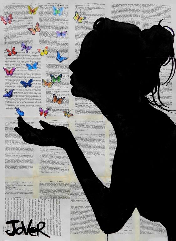 """Beautiful  Saatchi Online Artist: Loui Jover; Ink 2013 Drawing """"butterfly kisses"""""""