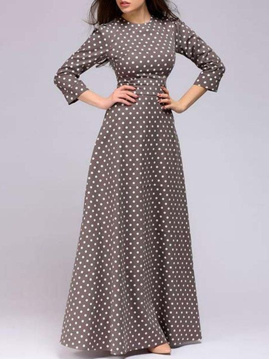 26ff20b2db164 Round Neck Polka Dot Maxi Dress - berrylook.com