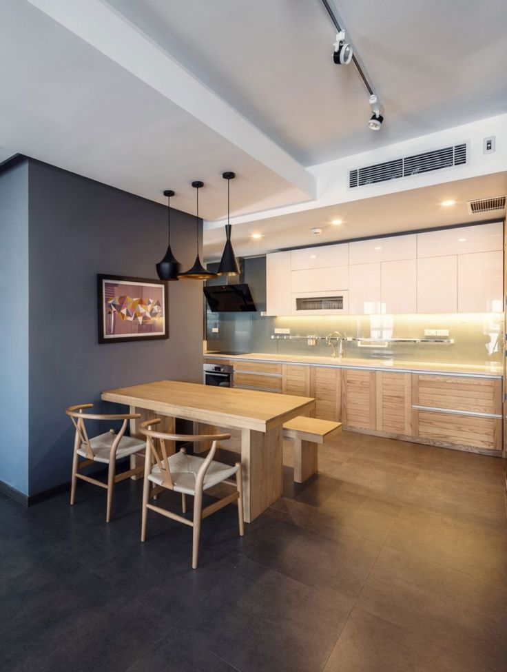 Apartment: Interesting ML Apartment in Hanoi, Vietnam Designed by Le Studio, Interesting Open Kitchen and Dining Area in ML Apartment by Le Studio showing Modern and Traditional Furnitures and Materials