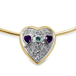 Amethyst, Emerald and Diamond Necklace