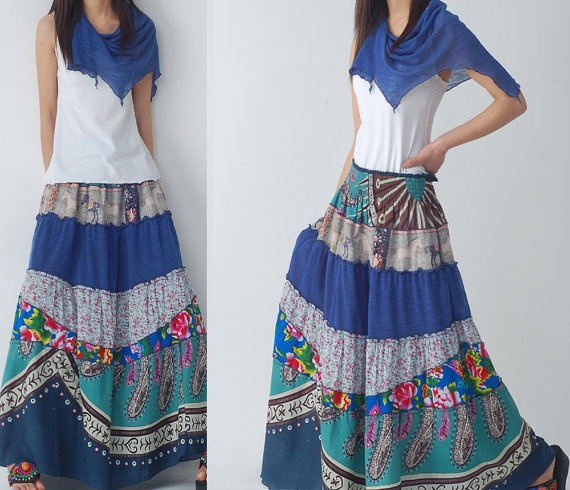 Blue Peony  patchwork maxi skirt and dress Q1207 by idea2lifestyle, $68.00