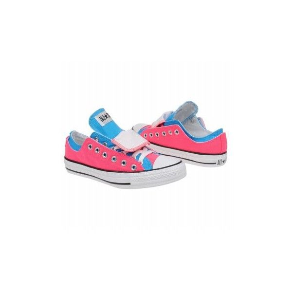 Converse Neon Pink/Vivid Blue Women's AllStar Dbl Upper Ox Shoe ($50) ❤ liked on Polyvore