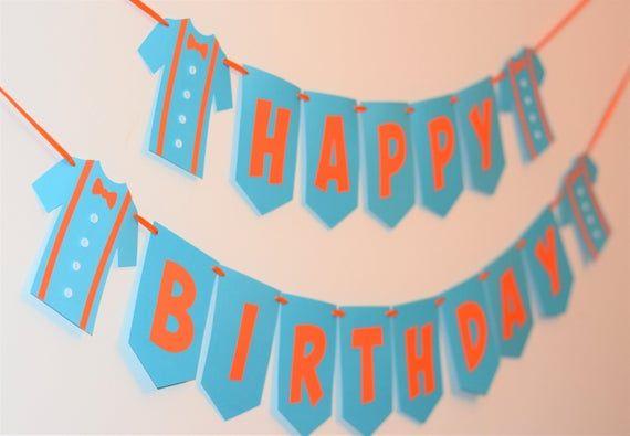 Orange And Blue Happy Birthday Shirt Banner Birthday Invitations