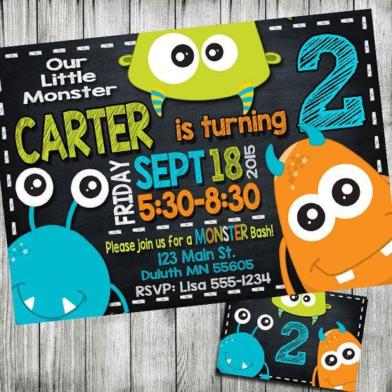 monster birthday invitation, monster invitation, monster party invitation…