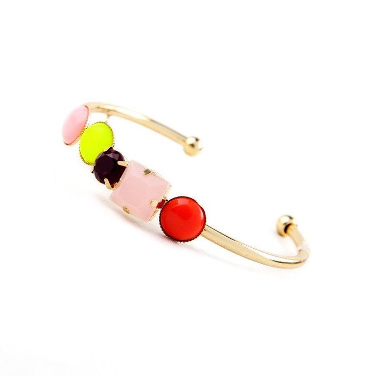Fashion Bangle - Tirsa Candy Color Beads In Gold-Plated Bangle