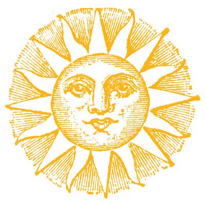 Vintage Clip Art - Old Fashioned Sun with Face - The Graphics Fairy
