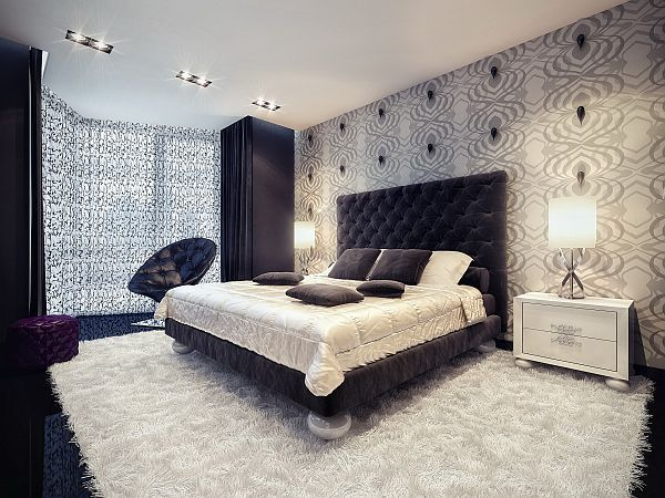 splash of color in a black white environment hotel style bedroomsluxury