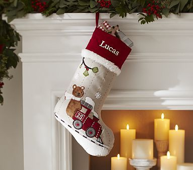 Train Woodland Stocking Kids Christmas Stockings