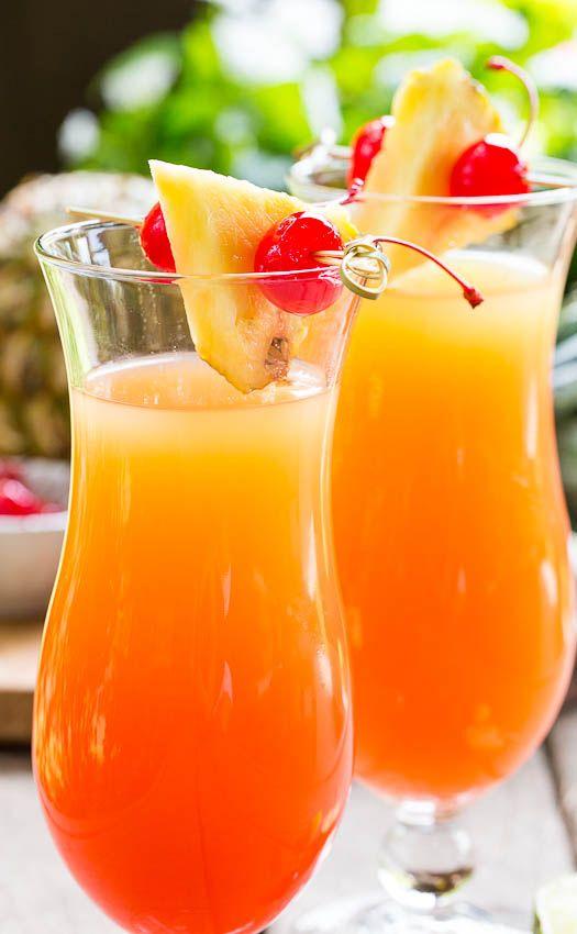 Pineapple Upside Down Cocktail (2½ cups pineapple juice 3 oz cake-flavored vodka 1 oz amaretto 2 tsp fresh lime juice 1 oz grenadine)