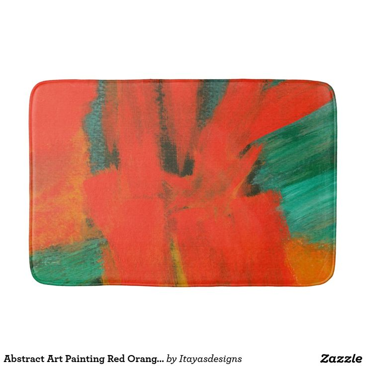 Abstract Art Painting Red Orange Gold Green Teal, Bath Mats