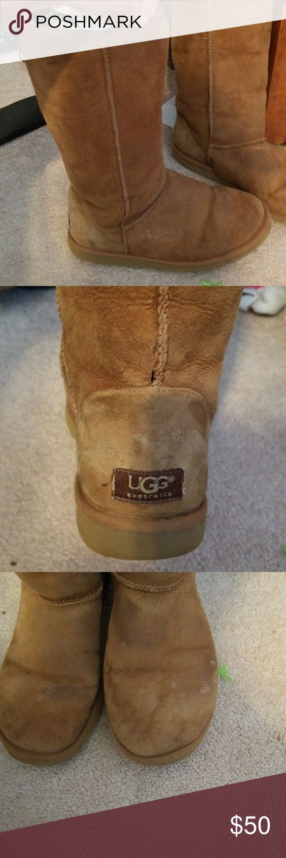 Tall UGG Boots Worn, tall UGG boots.  Women size 9 but fits a 10. Willing to accept any offer! UGG Shoes Winter & Rain Boots