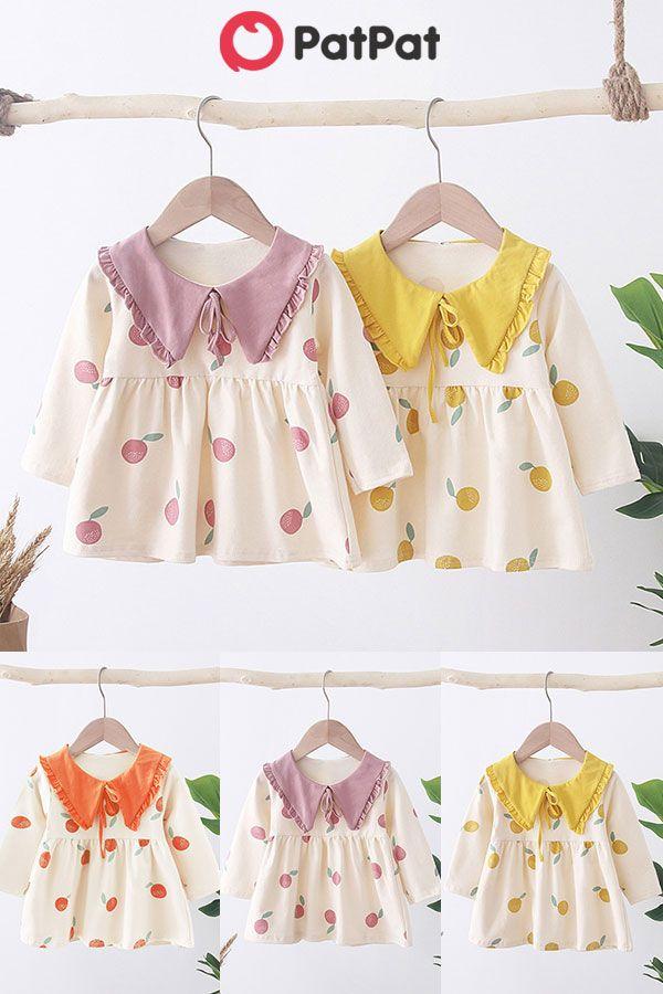 Toddler Baby Kids Girl Long Sleeve Dot Fruit Zipper Princess Dresses Clothes US