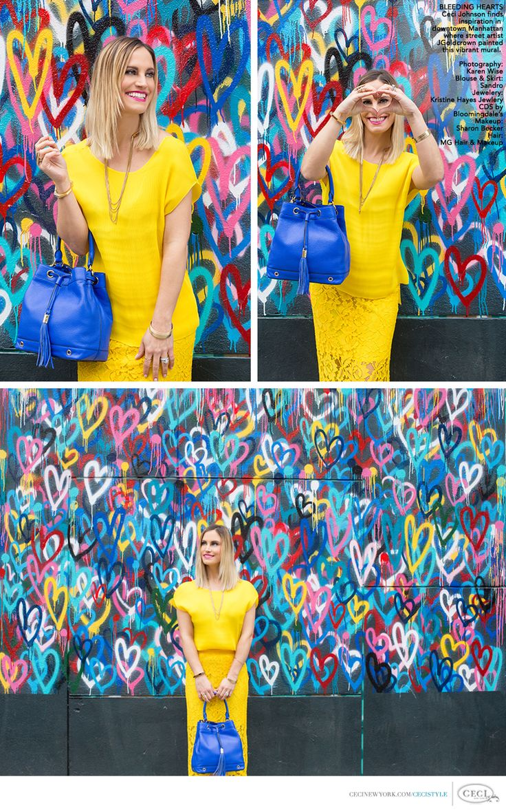 BLEEDING HEARTS - Ceci Johnson finds inspiration in downtown Manhattan where street artist JGoldcrown painted this vibrant mural. Photography: Karen Wise. Blouse & Skirt: Sandro. Jewelry: Kristin Hayes Jewelry, CDS by Bloomingdale's. Makeup: Sharon Becker. Hair: MG Hair & Makeup. #bleedinghearts #nyc #photography #fashion