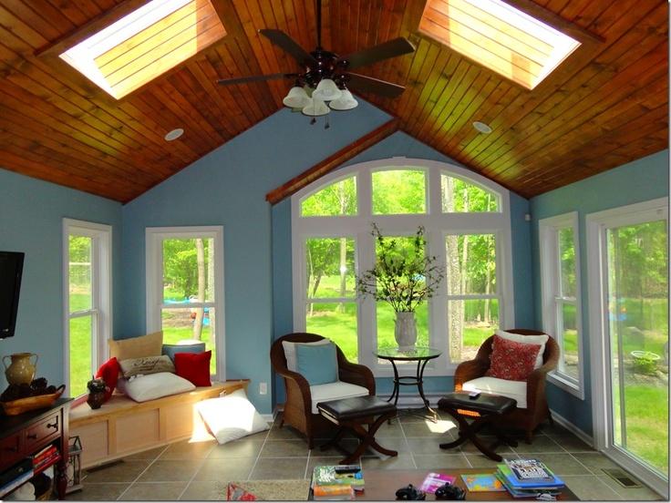Sunroom Addition Serene Blue Sunroom With Stained Wood