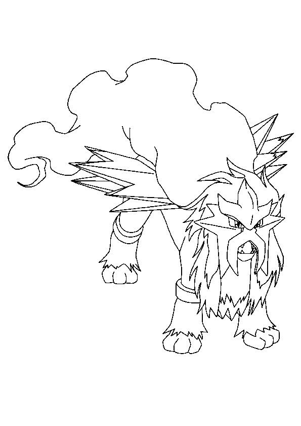 Dessin à colorier du grand Pokémon Légendaire Entei
