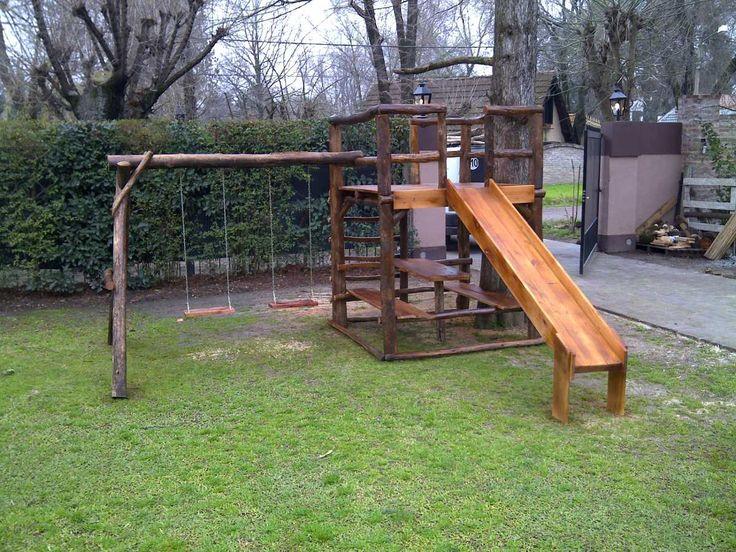 Mangrullo infantil de madera hamacas tobogan - Columpio madera jardin ...