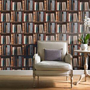 Grandeco - Library Bookshelf - Books - Realistic Luxury Wallpaper POB- 33-01-6