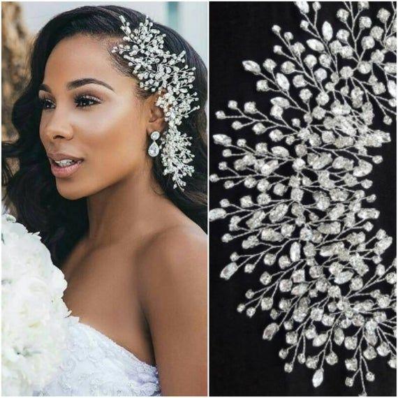 Wedding headpiece CRYSTAL DREAM Silver bridal hair piece Wedding hair accessory Swarovski hair vine Babys breath brooch Winter Hair jewelry