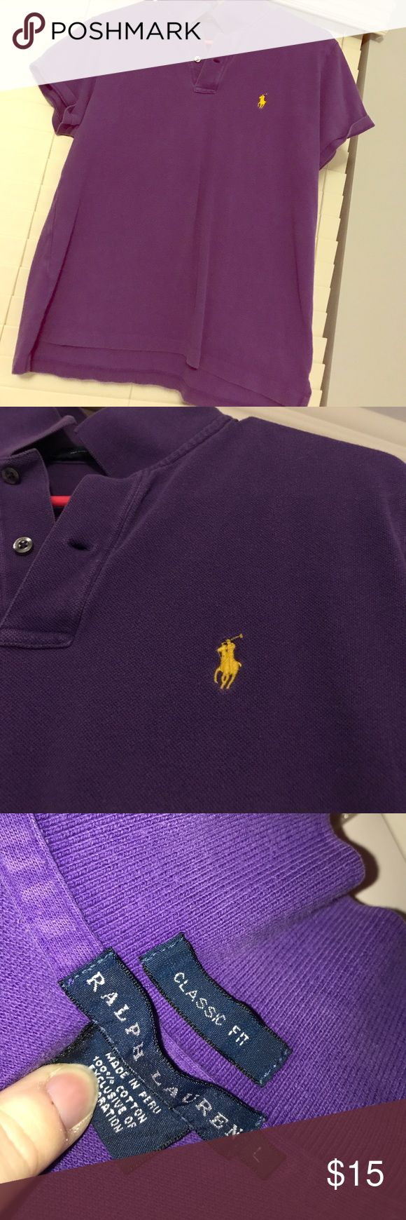 Polo Classic, rich purple color. L Size L. Classic fit. Polo by Ralph Lauren. Purple, grape color. Does show signs of wash/wear, but no rips, stains. Smoke free home. Great shirt! Polo by Ralph Lauren Tops