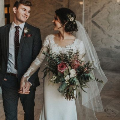 modest wedding dress with long sleeves from alta moda bridal. photo by autumn nicole