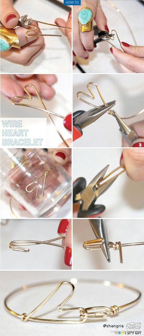 Wire Heart Bracelet. this would be such a cute fun project for me and my girlfriends to do together!