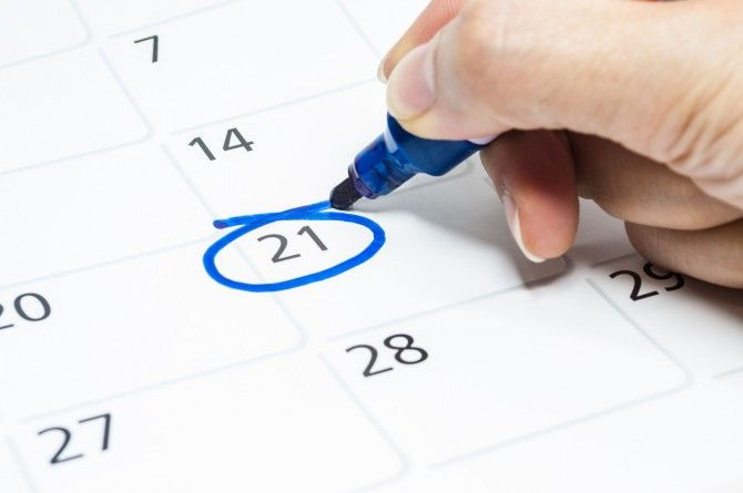 21 day of month circled in calendar