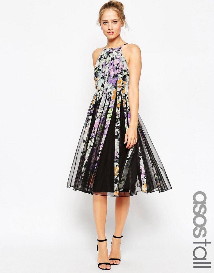 Immagine 1 di ASOS TALL - Vestito longuette in tessuto a rete con corpino aderente e gonna svasata e stampa floreale scura