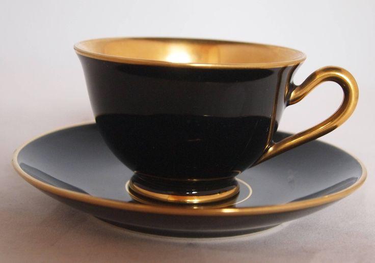 Porsgrund Nora Gulbrandsen - art deco cobalt and gold cup and saucer door ThePorcelainDuck op Etsy