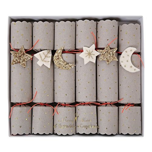 Best 25 christmas crackers ideas on pinterest diy christmas a set of luxury crackers finished with silver paper with a glitter star pattern embellished with felt and glittered fabric stars and moons solutioingenieria Images