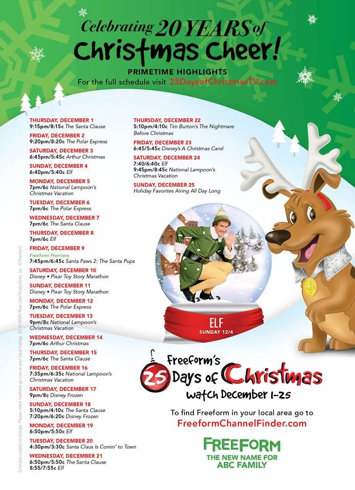 Check out the lineup on this year's abc family 25 Day of Christmas Movie Schedule. From 12/1- 12/25 you can watch all the Christmas classics (some newbies too) on the new Freeform channel (formerly abc Family)