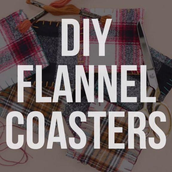 DIY No Sew Flannel Coasters