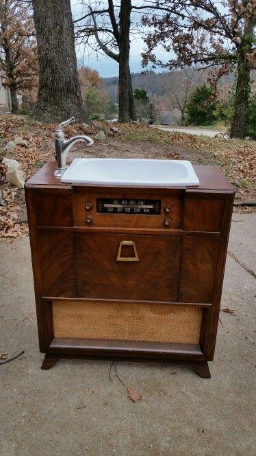 Vintage Floor Stand Radio Turned Bathroom Vanity Even Has