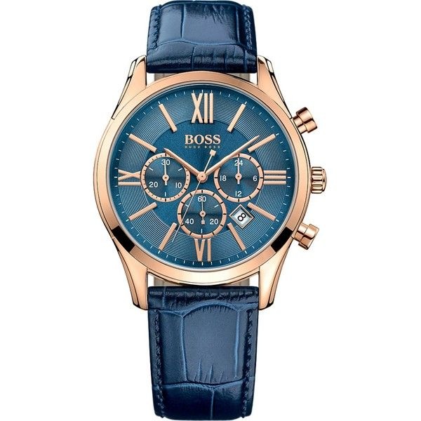 Hugo Boss 1513320 ambassador rose-gold stainless steel watch ($300) ❤ liked on Polyvore featuring men's fashion, men's jewelry, men's watches, mens gold tone watches, men's blue dial watches and mens rose gold watches